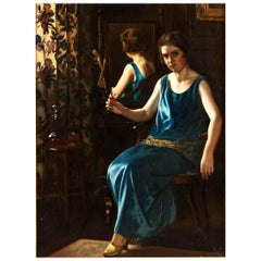 English Art Deco Painting of 'the Blue Girl' by Stanley Thompson