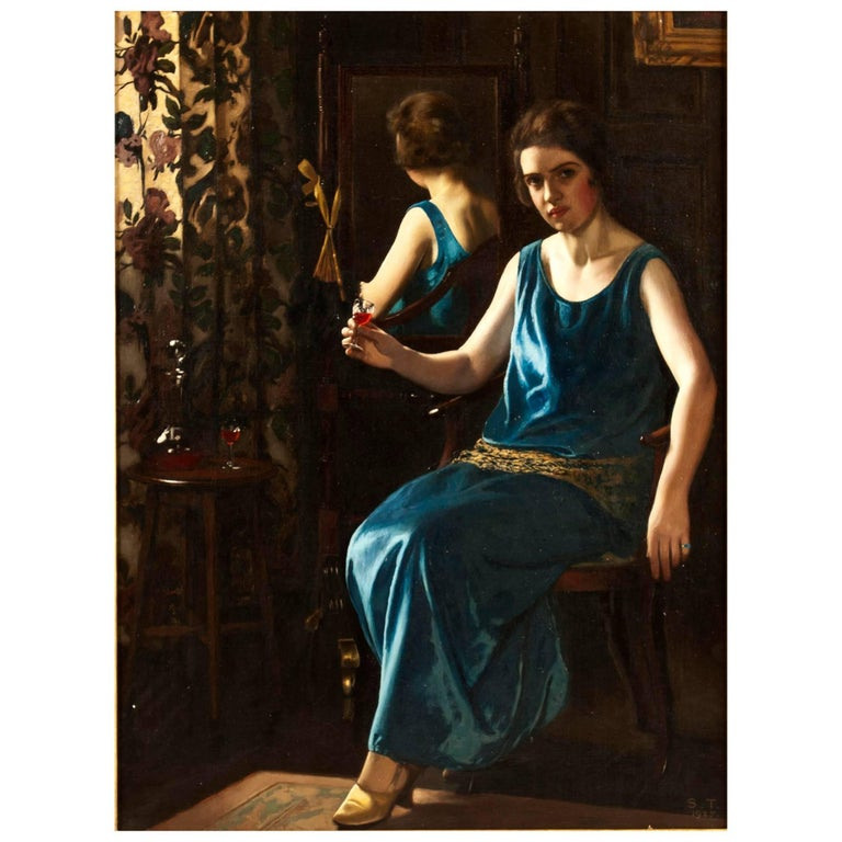 English Art Deco Painting of 'the Blue Girl' by Stanley Thompson For Sale