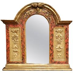 18th Century Italian Carved Polychrome and Gilt Wall Mirror with Arched Top