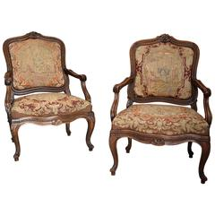 Pair of 19th Century French Fauteuils of Large Proportion