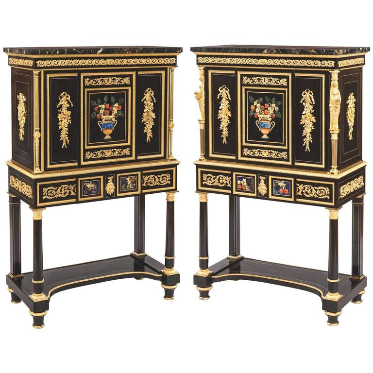 Pair of French 19th Century Ebony, Hard Stone and Ormolu Mounted Secretaires For Sale