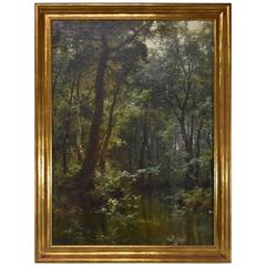 Carl Oesterley, Jr. Oil on Canvas of Stream in the Forest