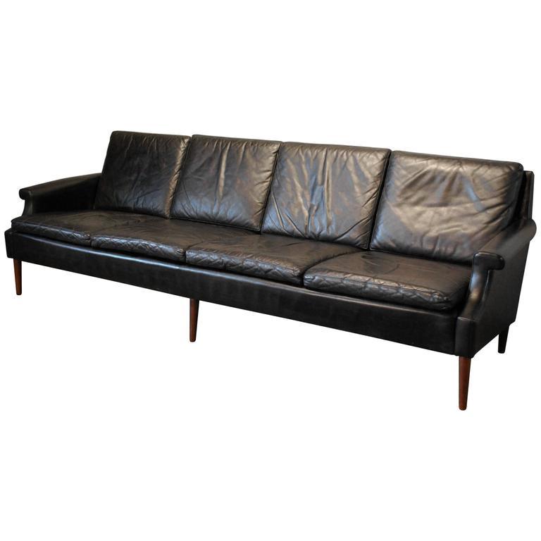 georg thams designed danish modern leather sofa circa
