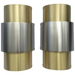 Pair of 'Barrel' Brushed Nickel and Brass Italian Wall Lights