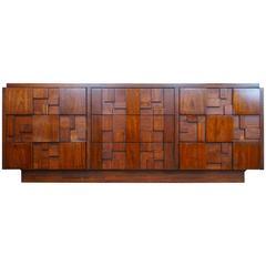 Mid-Century Brutalist Mosaic Bedroom Suite Set by Lane Furniture