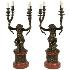 Pair of 19th Century Clodion Bronze Candelabra