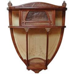 Continental Art Nouveau Small Wall Cabinet Oak with Gilt Brass, circa 1900s