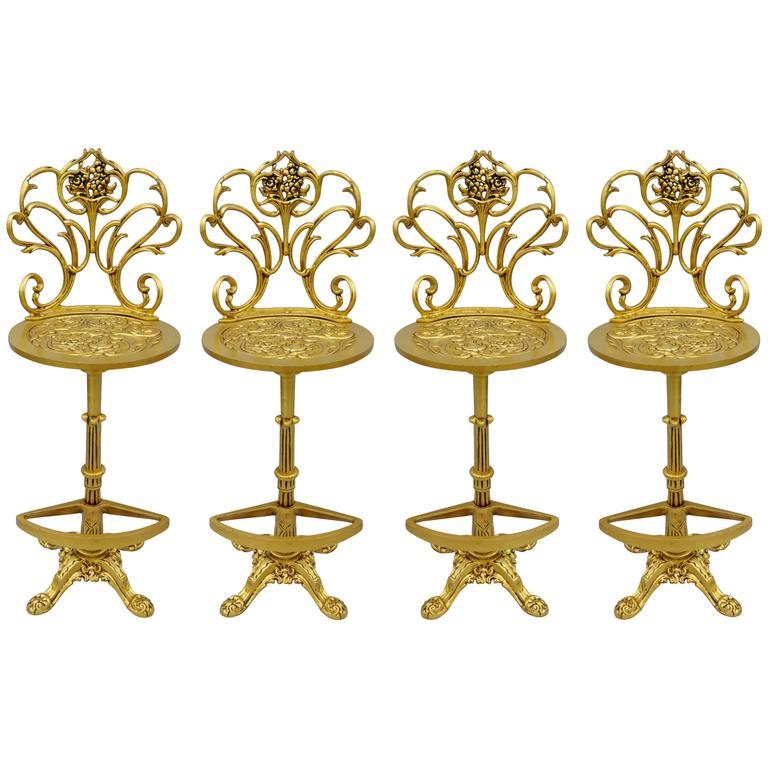 Four Gold Hollywood Regency Art Nouveau Style Cast Aluminum Floral Bar Stools For Sale