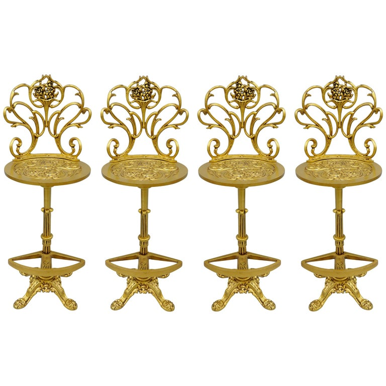 Set 4 Gold Hollywood Regency Art Nouveau Cast Aluminum Floral Swivel Bar Stools