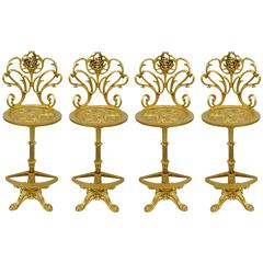 Four Gold Hollywood Regency Art Nouveau Style Cast Aluminum Floral Bar Stools