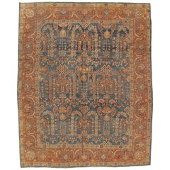 Antique Sultanabad Carpet, Oriental Rug, Handmade Persian Orange Soft Light Blue
