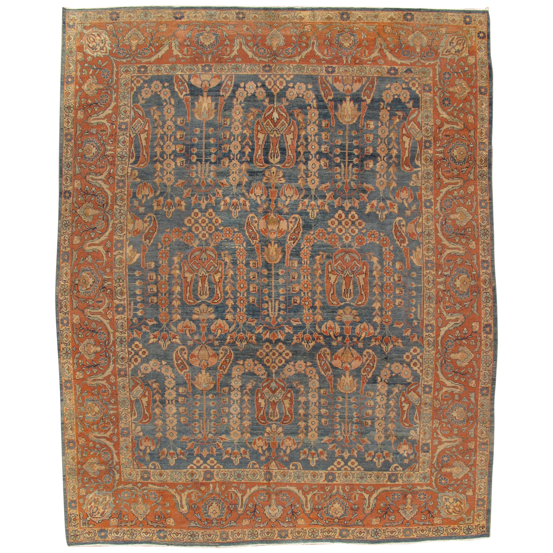 Antique Sultanabad Carpet, Oriental Rug, Handmade Persian Orange Soft Light Blue