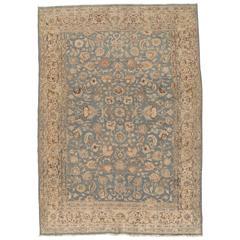 Antique Tabriz Carpet, Handmade Persian Rug in Floral Light Blue, Beige,Taupe