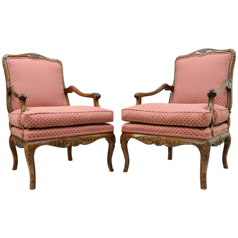 Pair of Country French Louis XV Shell Carved Century Bergere Lounge Arm Chairs For Sale