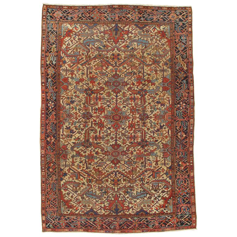 Antique Heriz Northwest Persian Runner, Handmade Rug, Navy Light Blue, Gold Rust
