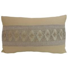 19th Century Macramé and Woven Linen Swedish Decorative Bolster Pillow