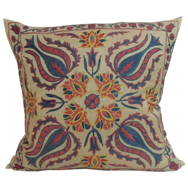 Decorative Pillows Vintage : Vintage Floral Suzani Embroidered Decorative Pillow For Sale at 1stdibs