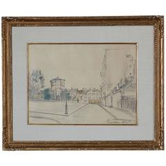 La Place Ravignan - Drawing by Maurice Utrillo, April 1920