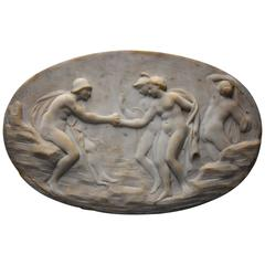 Marble Oval Plaque of a Classical Scene, Possibly 'The Judgement of Paris'