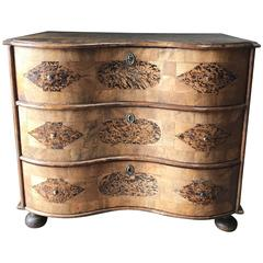 18th Century Burr Root Wood Three Drawer Commode, Bowed Front, Sweden