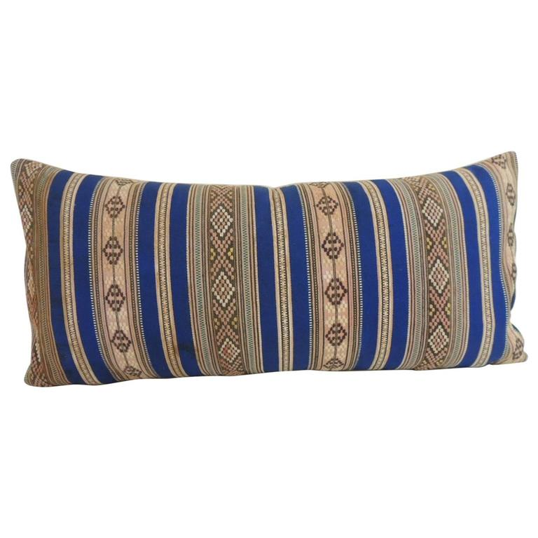 Decorative Bolster Pillow Black : 19th Century Blue and Yellow Turkish Striped Woven Decorative Bolster Pillow at 1stdibs