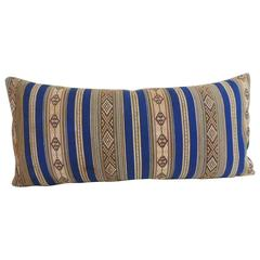 19th Century Blue and Yellow Turkish Striped Woven Decorative Bolster Pillow