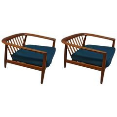 Fantastic Folke Ohlsson for DUX Pair of Teak Lounge Chairs