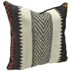 Custom Pillow Cut from a Vintage Hand-Loomed Wool Moroccan Berber Rug
