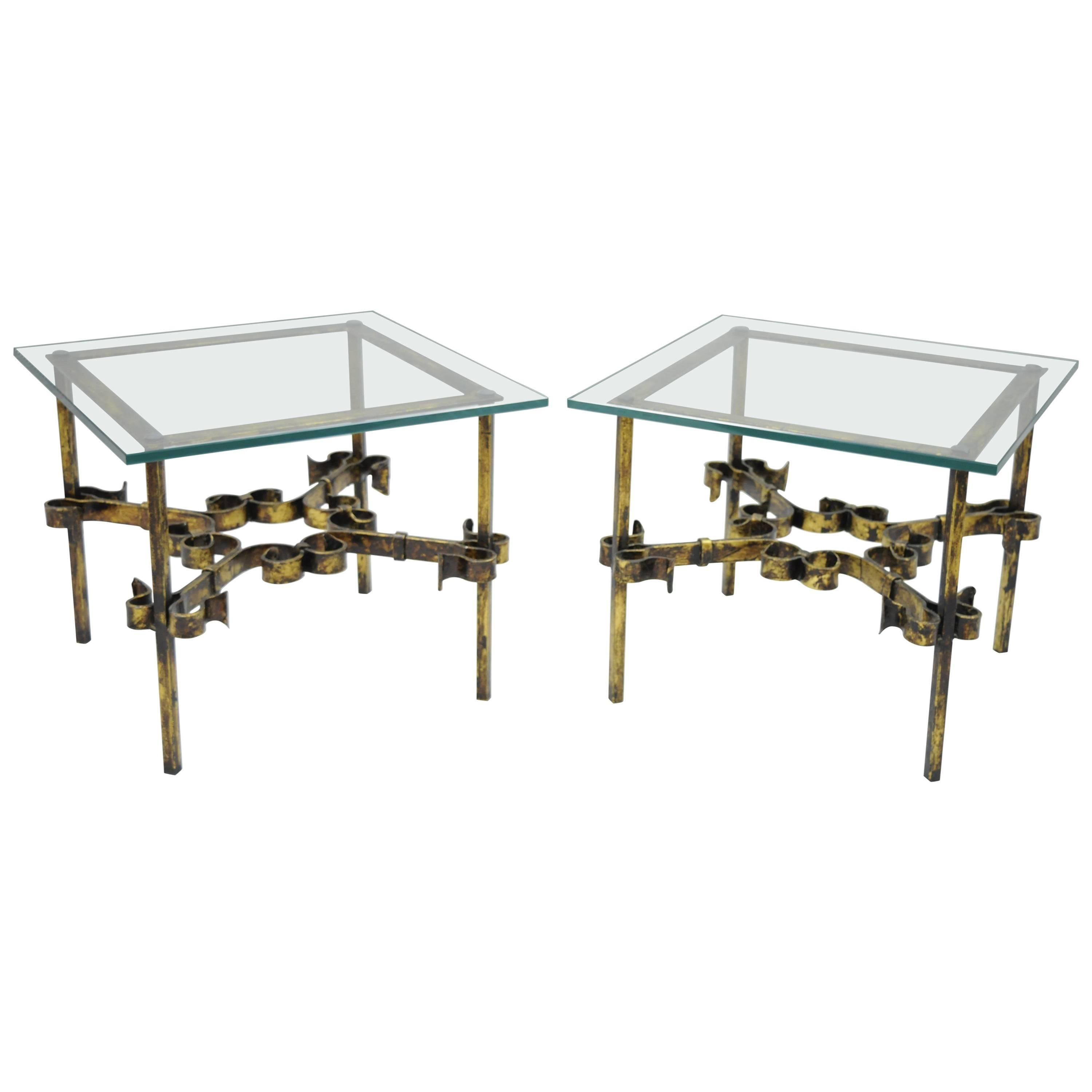 Pair Hollywood Regency Gold Gilt Iron Square Glass Top Brutalist Low End Tables