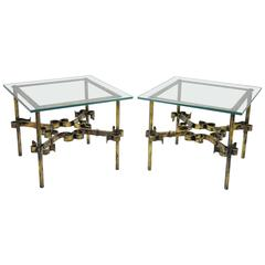 Pair of Scrolling Gilded Iron Square Glass Top Gold Brutalist Low End Tables