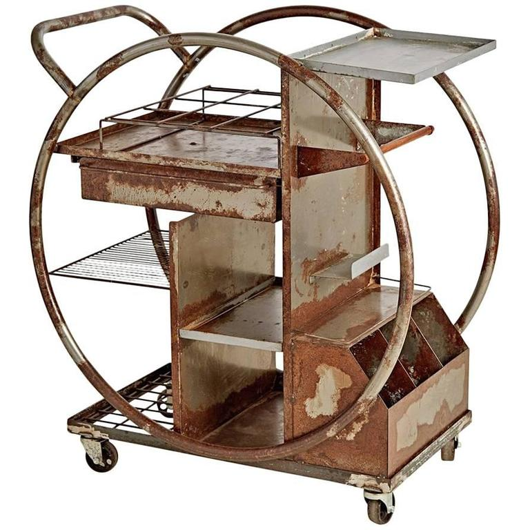 Rusted Steel Art Deco Bar Cart Circa 1930s For Sale At