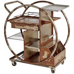 Rusted Steel Art Deco Bar Cart Circa 1930s