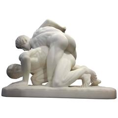Carrera Marble Sculpture of Two Roman Wrestlers, 19th Century Grand Tour
