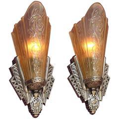 Art Deco Slip Shade Sconces Original Finish Three Pair Available