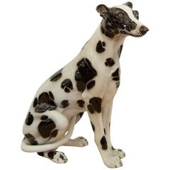 Large Life-Sized Mid-Century Italian Porcelain Dog