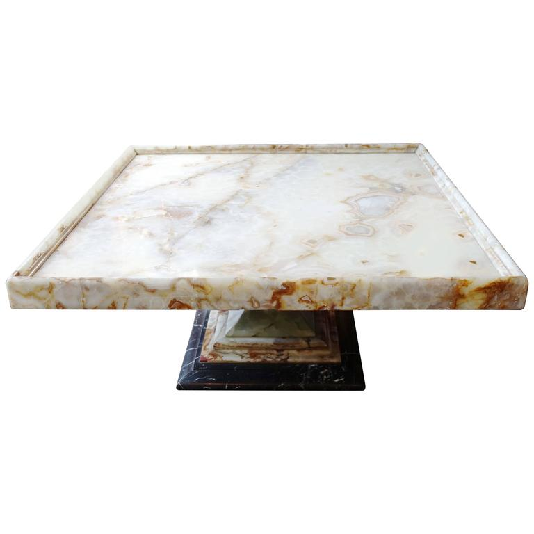 New York Marble Coffee Table: Italian Onyx Square Coffee Table, Marble Base, Circa 1960