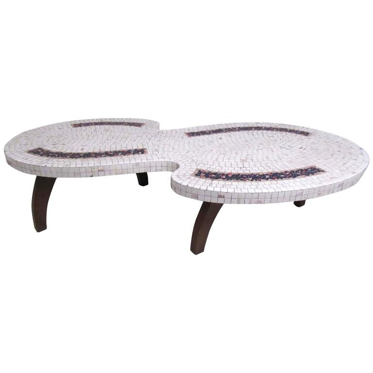 Stylish Mid-Century Modern Mosaic Tile Coffee Table For