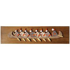 Mid-Century Modern Teak and Terracotta Wall Plaque
