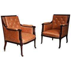 Superb Pair of Late 19th Century 'His & Hers' Mahogany Bergere Library Chairs