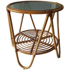Vintage Bamboo and Frosted Glass Cocktail Table