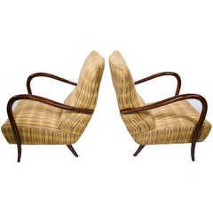 Pair of Italian Mid-Century High Back Chairs with Bentwood Frames