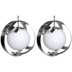 Pair of Mid-Century Brushed Aluminum and Glass Pendants Attributed to Sonneman