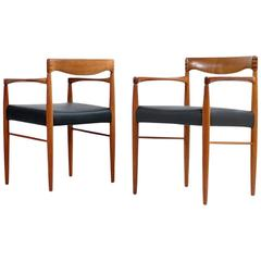 Pair of 1960s H.W. Klein for Bramin Teak and Leather Armchairs Danish Modern