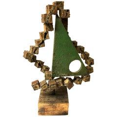 Brutalist Metal on Wood Base Geometric Sculpture by Frank Cota