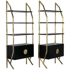 Pair of Mid-Century High Style Italian Brass and Wood Etageres
