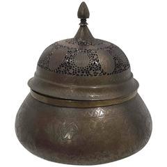 Qajar Openwork Brass Incense Burner & Cover, 19th Century