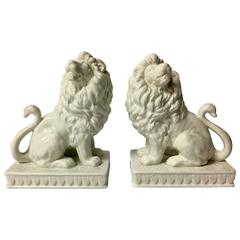 Pair of Lion Bookends in White Porcelain/Chine De Blanc by Fitz & Floyd
