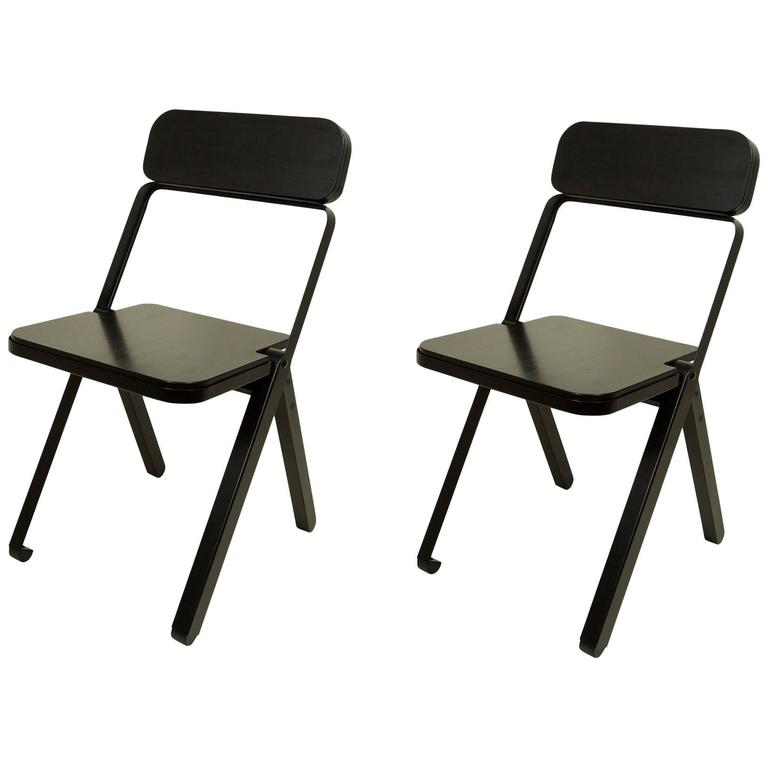 Pair of Profile Folding Chairs, Black and Black from Souda, Made to Order