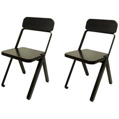Pair of Profile Folding Chairs, Black and Black from Souda