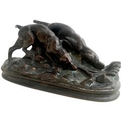 Signed Bronze Bayre Sculpture of Hunting Bloodhound Dogs